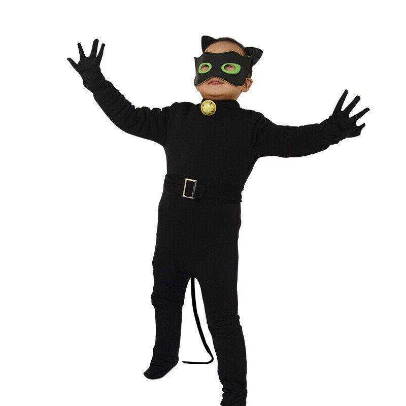 Kids Boy Black Cat Noir Cosplay Costume Jumpsuit / Pajamas