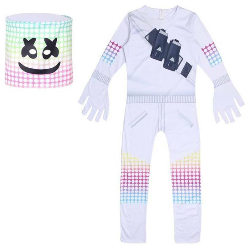Kids Girls Halloween Party Cosplay Marshmallow Jumpsuit Face