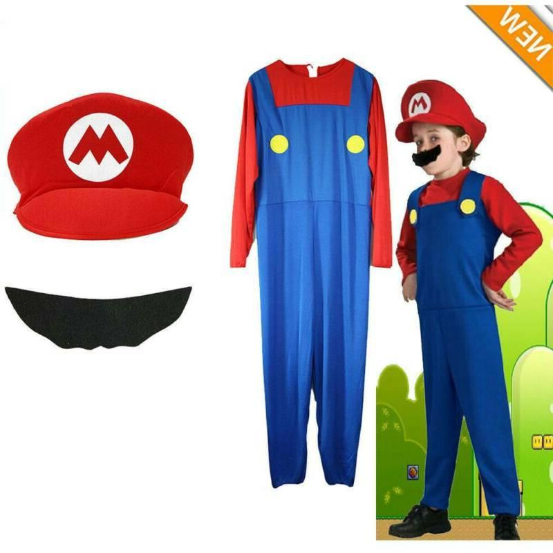 Kids Boys Mario Luigi Brother Jumpsuit Costume Party