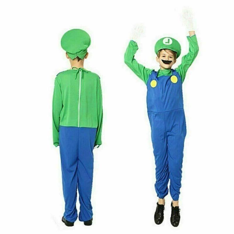 Kids Super Luigi Costume Suit Carnival