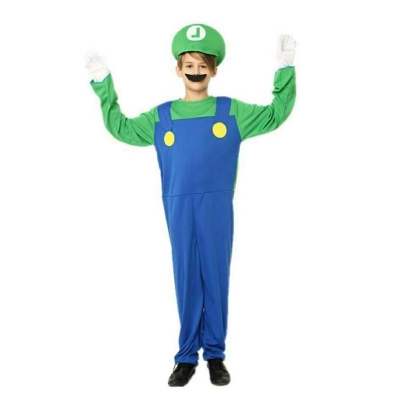 Kids Luigi Jumpsuit Costume Suit