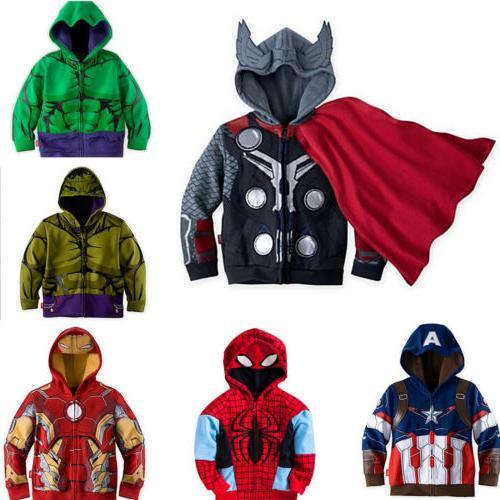Kids Boys Hooded Hoodies Jacket Long
