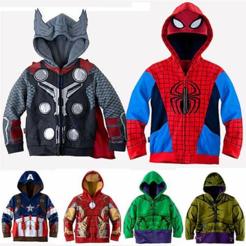 kids boys superhero spiderman hooded jacket coat