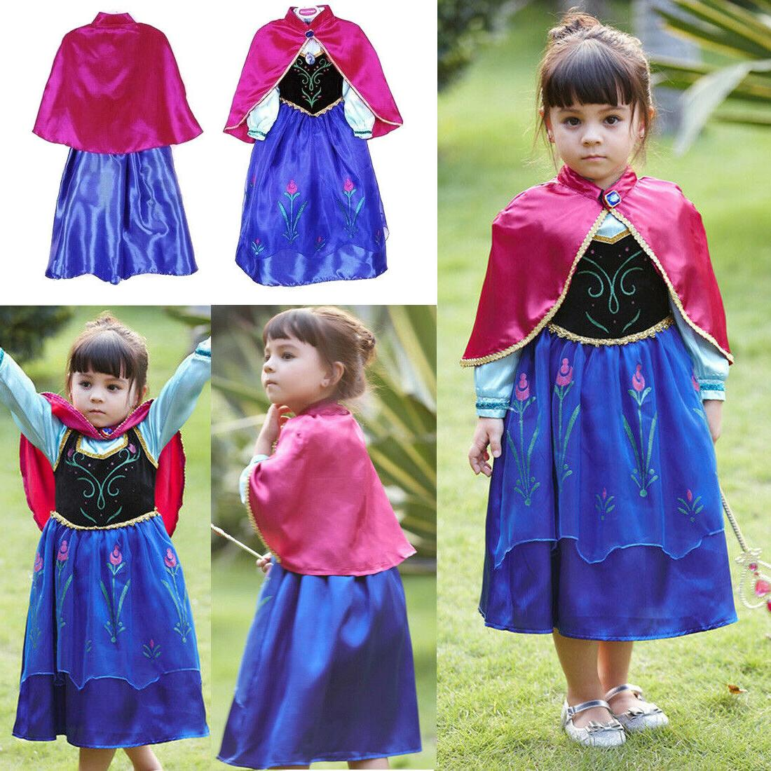 Kids Cinderella Girls Princess Costume Belle Rapunzel