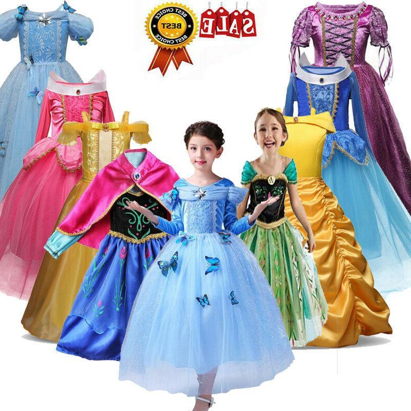 Kids Girls Princess Costume Fairytale Belle Aurora