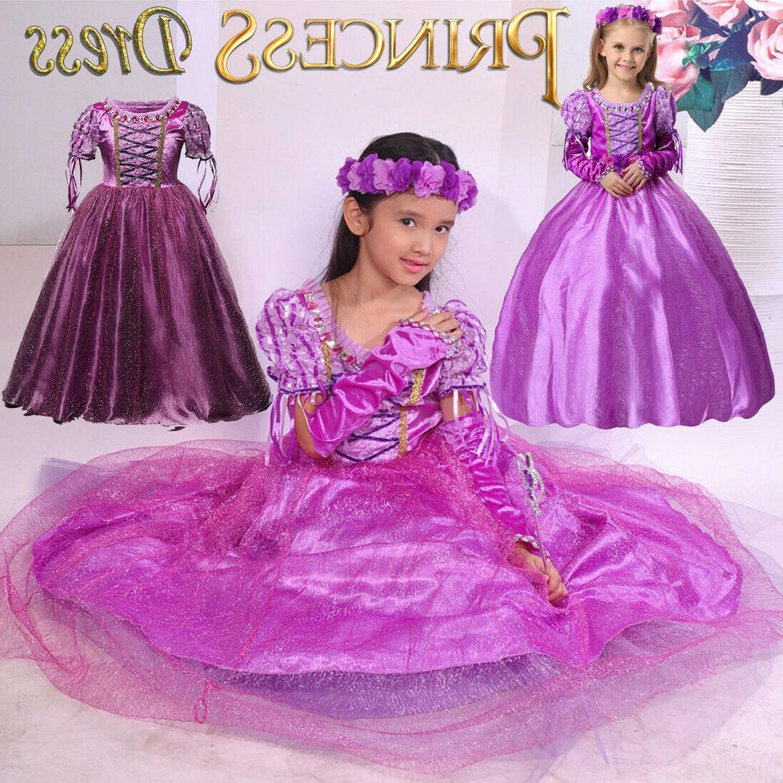 Kids Girls Princess Belle Aurora Rapunzel
