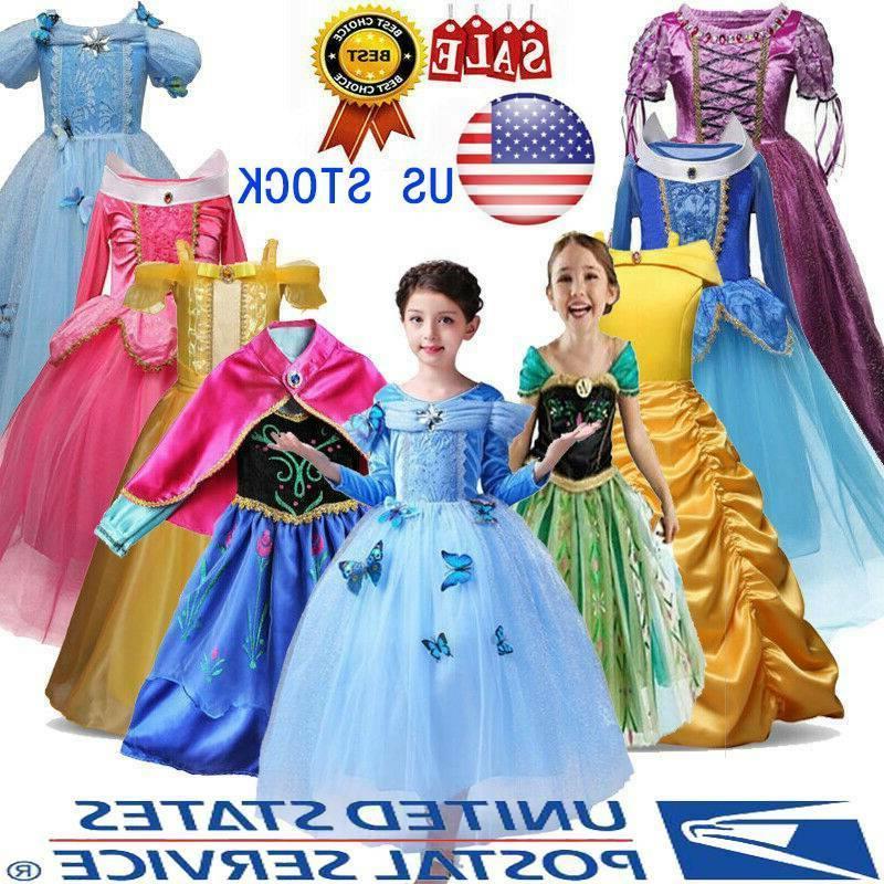 kids cinderella dress up girls princess costume