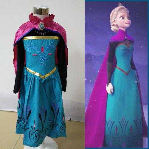 Girls Frozen Princess Dress Costume Fancy Party