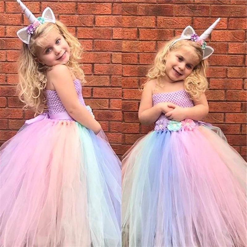 Baby Kids Girls Unicorn Rainbow Princess Fancy Dress Cosplay