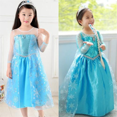 Snow Queen Princess Dress Girls Kid Outfit
