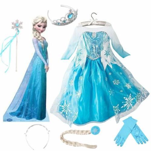 Kids Girls Frozen Elsa Dress Princess Cosplay Costume Fancy