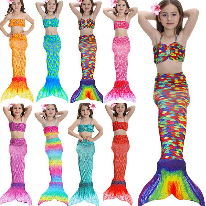 Kids Girls  Mermaid Swimsuit Tail Costume Summer  Swimmable