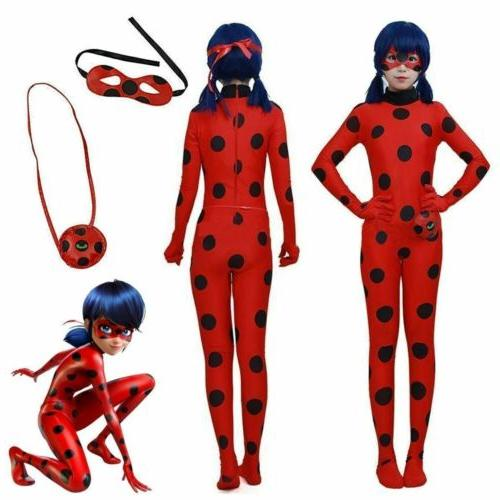 Kids Girls Miraculous Ladybug Cosplay Costume Jumpsuit Outfits Tight Fancy Dress