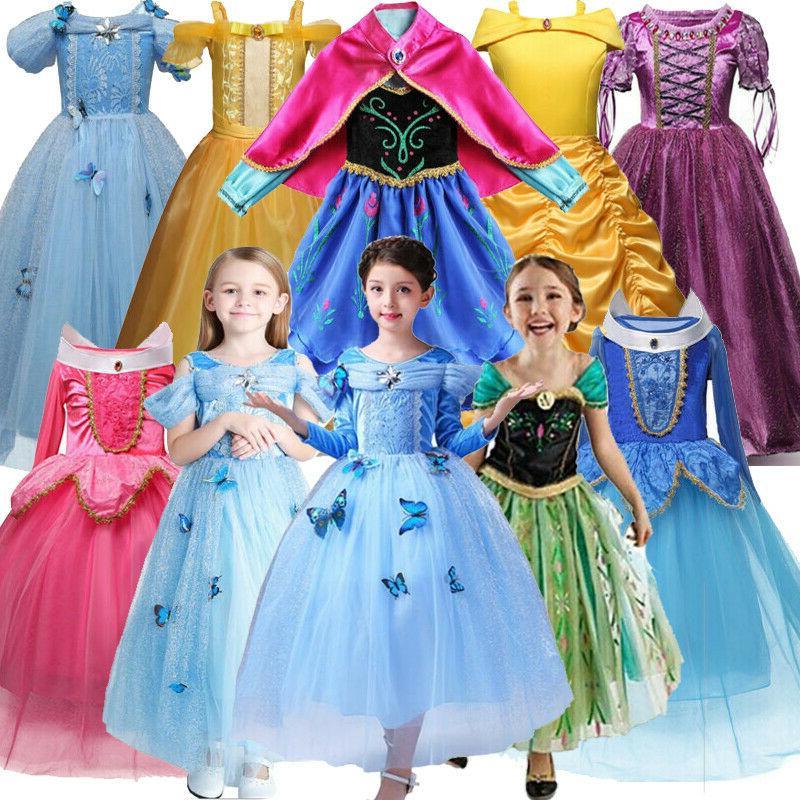 Kids Girls Princess Fairytale Dress Up Costume Belle Cindere