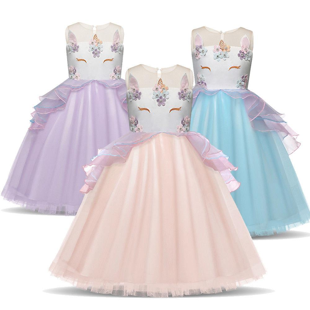 kids girls unicorn flower wedding dress party