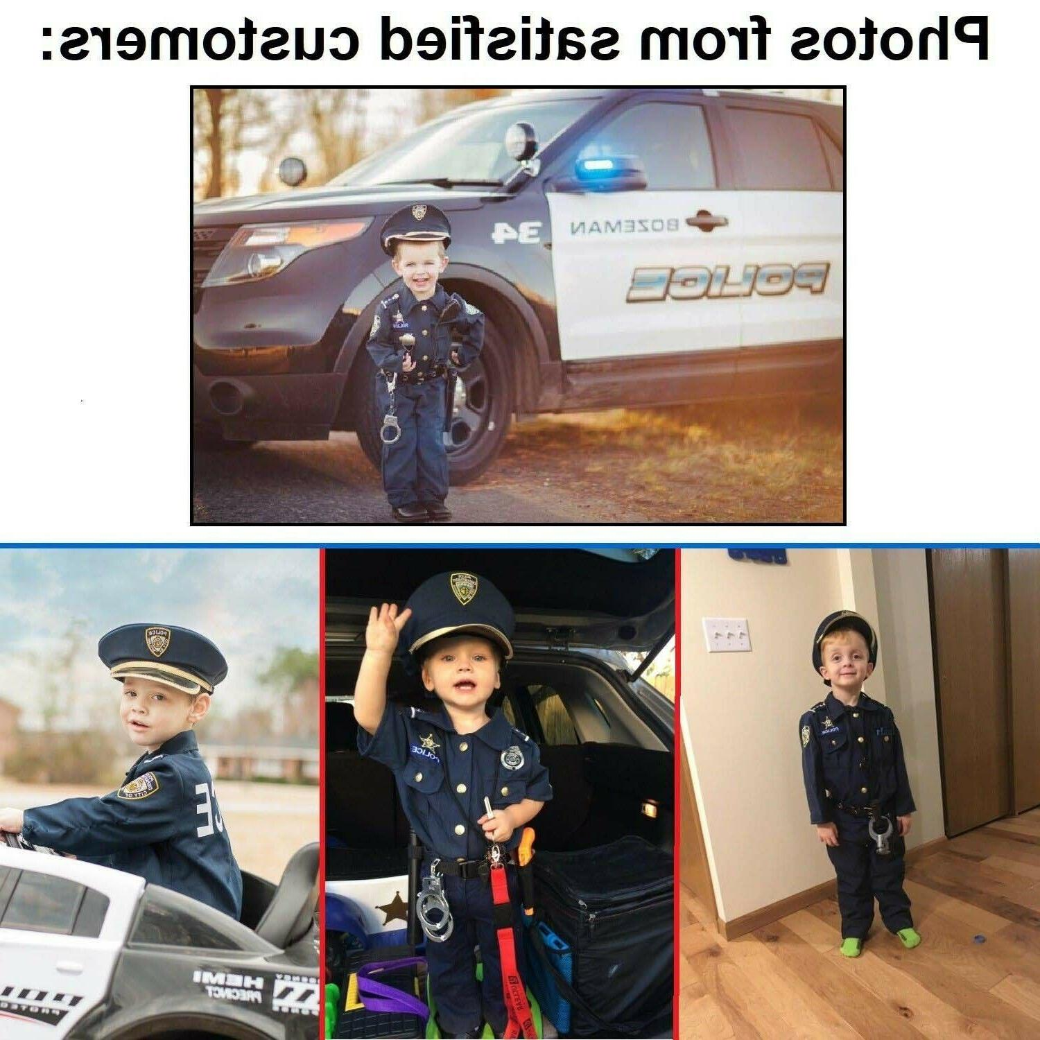 Kids Police Halloween Cosplay Boys Outfit