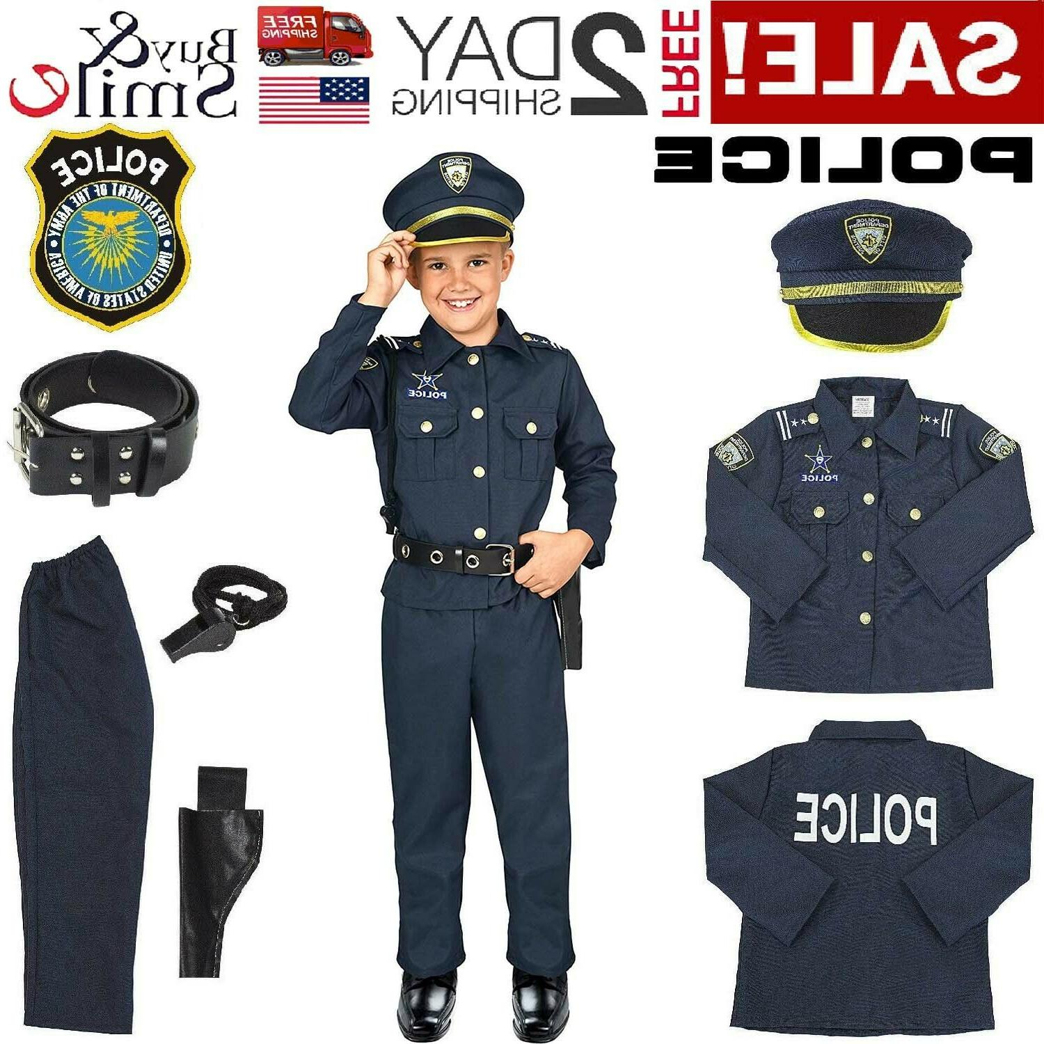 kids police officer costume halloween cosplay boys