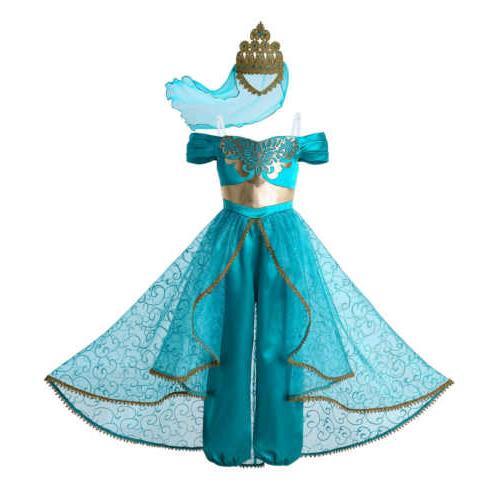 2020 Girls Princess Jasmine Costumes Kids Fancy Dress UP Par