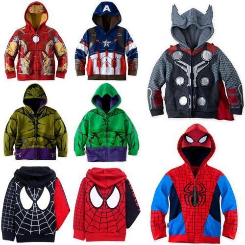 kids toddler boys clothes superhero hoodie hooded
