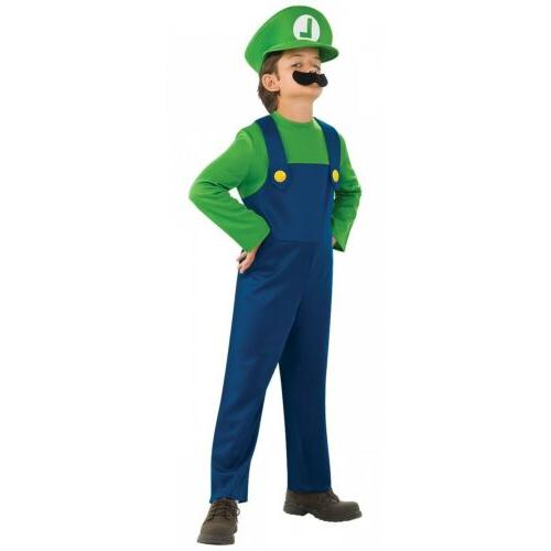 Luigi Costume Kids Super Mario Brothers Halloween Fancy
