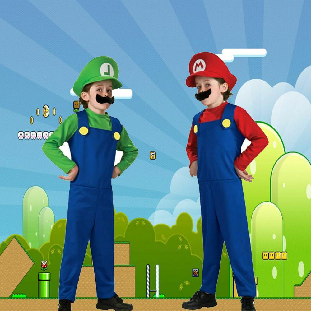 Kids Boys Super Luigi Jumpsuit Costume Carnival