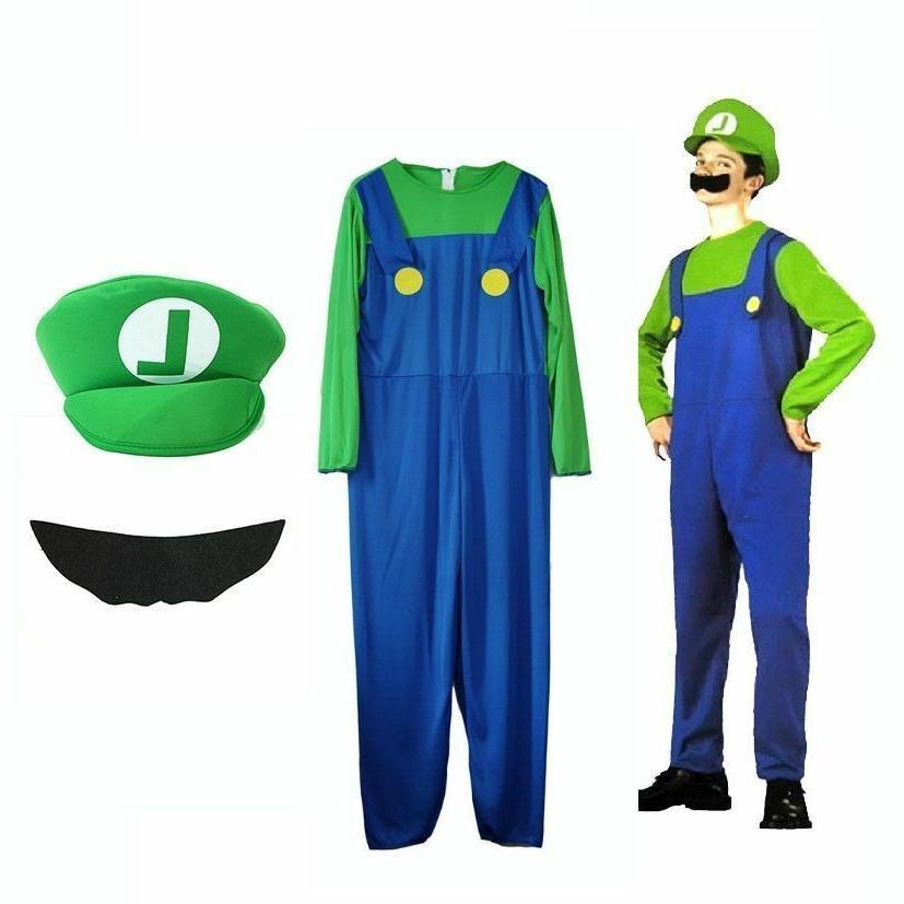 Kids Super Luigi Jumpsuit Costume Carnival