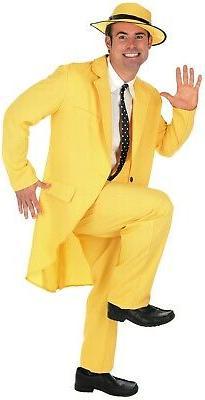 Mens 90s Yellow The Mask Costume Adult Jim Carrey Film Fancy