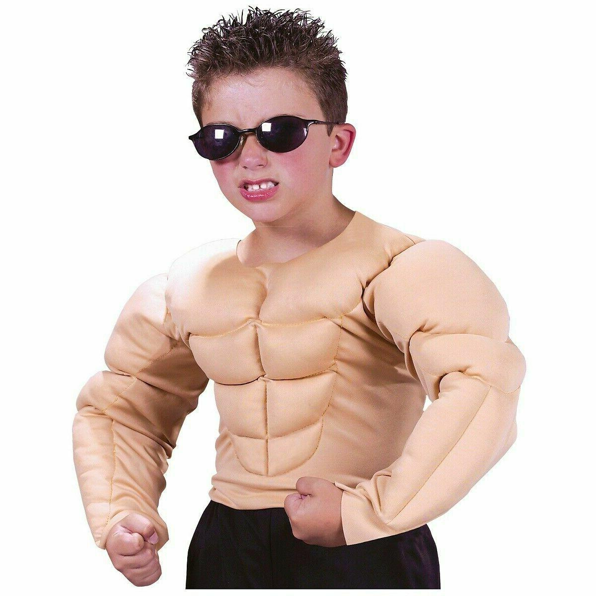 muscle costume boys padded kids youth shirt