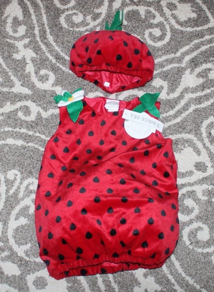 nwt strawberry 2pc halloween costume plush hat