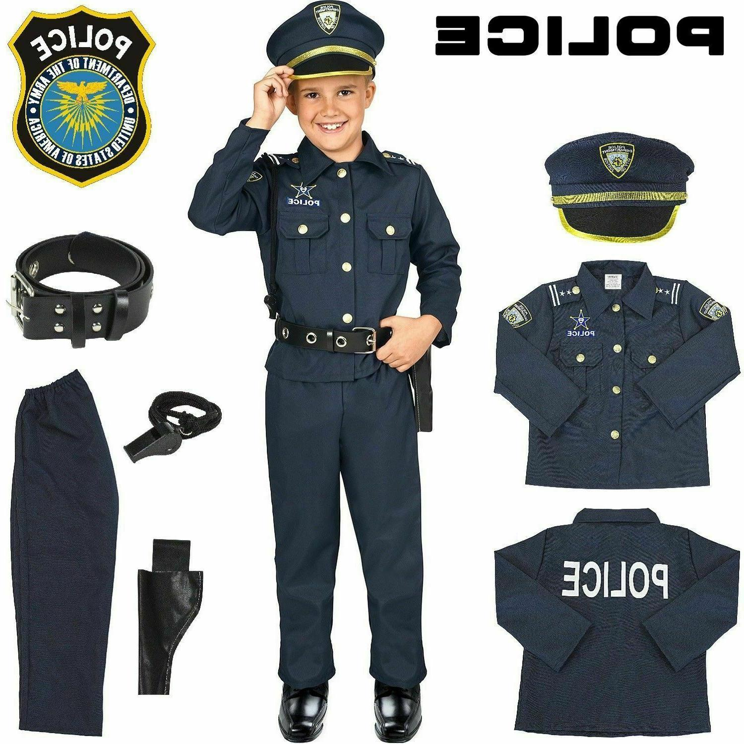 police officer kids costume halloween uniform outfit