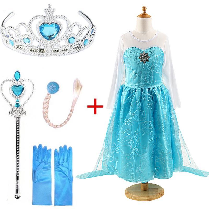 Queen Elza <font><b>Costumes</b></font> <font><b>Dress</b></font> Girls Vestidos Clothing Elsa Set