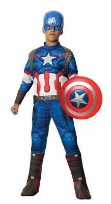 Morris Costumes RU610425LG Captain America Child Costume44;