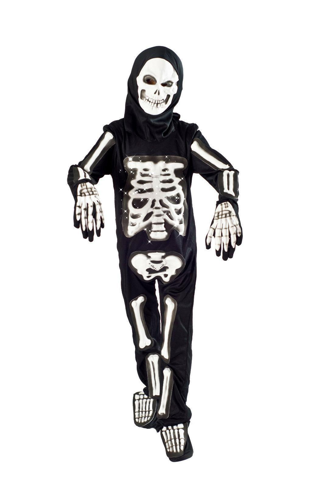 Skeleton Halloween Costume boys Light up Size 5-6, 6-8 glowi