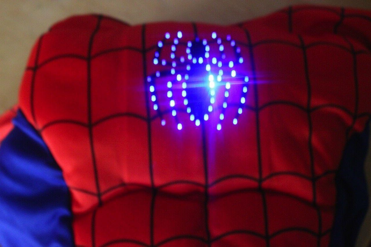 Spiderman Costume boys kids XS M L 4 5 7 9 Glowing