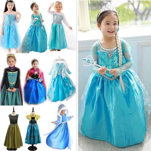 Kids Girls Elsa Dress Costume Party Dresses Cosplay US