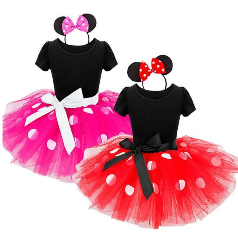 Toddler Baby Girls Minnie Mouse Bowknot Dots Tutu Dress Birt