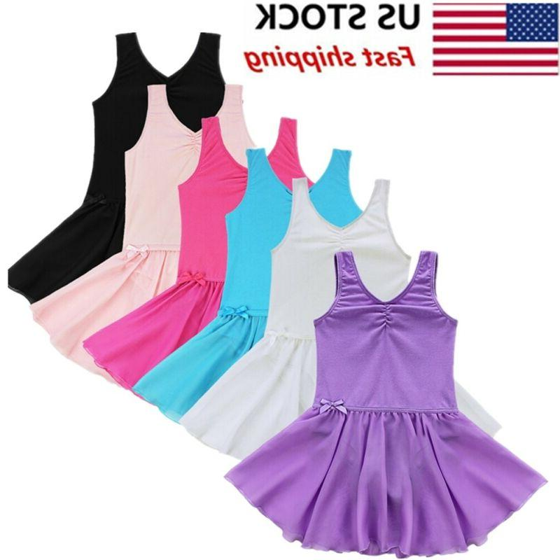 US Girls Dress Kids Leotard Skirt Dance Costume