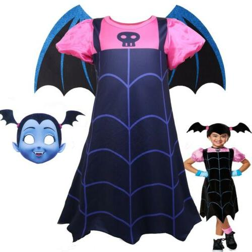 Vampirina Cosplay Costume Kids Girls Dress Skirt Wings Mask