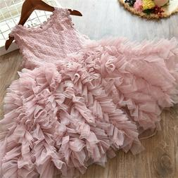 Lace Flower Girl Dress Kids Party Princess Birthday Party Tu