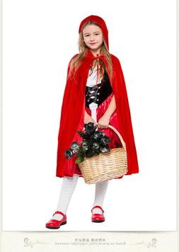 Little Red Riding Hood Costume Kids Girls Fairy Tale Hallowe