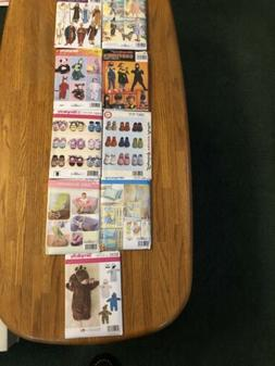 Lot Of 9 Kids & Infants Sewing Patterns- Costumes-baby Shoes