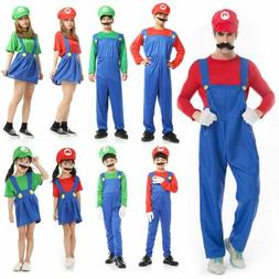 Men Adult Kids Super Mario Luigi Bros Cosplay Costume Hallow