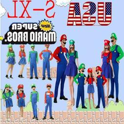 Men's Women Kids Adult Super Mario Luigi Bros Cosplay Fancy