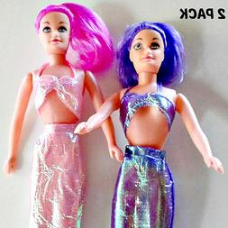 Mermaid 2 in 1 Fashion Doll Colored Hair Iridescent Costume