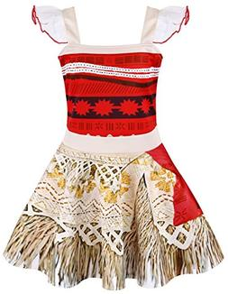AmzBarley Moana Dress for Girls Costumes Cosplay Outfit Kids