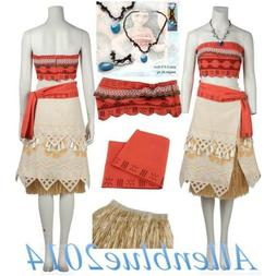 Moana Princess Fancy Dress Cosplay Costume Party Outfits Ski
