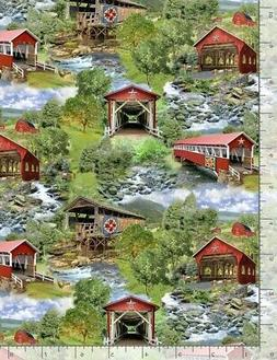 Nature Fabric - Red Covered Bridge Scene Green - Timeless Tr