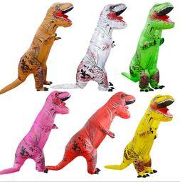 New Adult Kids Inflatable T-Rex Dinosaur Costume Fancy Dress