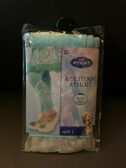 New Disney Frozen Elsa Child Footless Tights Small 4-6