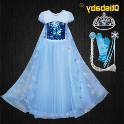 New Girls Elsa Dress Up Clothes <font><b>Kids</b></font> Sho
